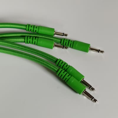 Five pack - 30cm Braided Patch Cables - Green