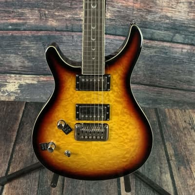 Dillion Left Handed DR-1500 TQ Double Cutaway Electric Guitar- Quilted Sunburst for sale