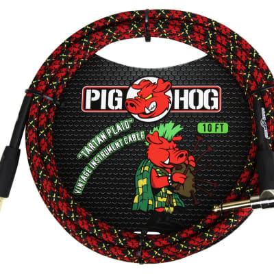 Pig Hog PCH10PLR Tartan Plaid Vintage Series Instrument Cable, 10 Ft Right Angle