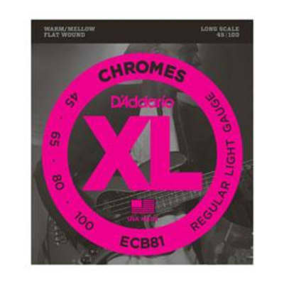 D'Addario ECB81 Chromes Bass, Light, 45-100, Long Scale (Flat Wound)