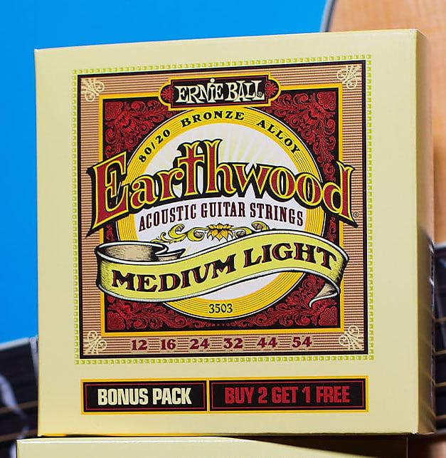 Ernie Ball 2003 Earthwood 80//20 Bronze Medium Light Acoustic Strings 3-Pack Standard