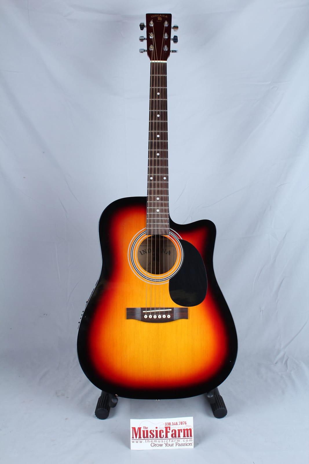 Indiana Scout Vintage Sunburst Acoustic Electric Guitar | Reverb