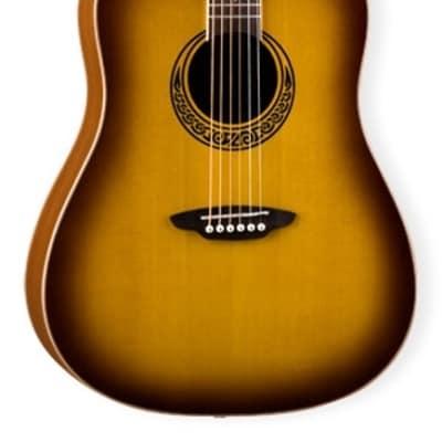 Luna Muse Dreadnought Acoustic Guitar, Burst Mahogany, MUS DN M BURST