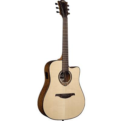 LAG T318DCE Dreadnought Natural Solid Engelmann Spruce Cutaway Electro Acoustic Guitar for sale