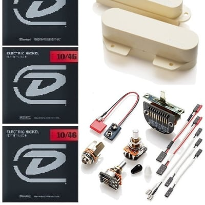 EMG TC SET IVORY 2 TELE PICKUPS FTC & RTC ACTIVE SOLDERLESS TELECASTER ( 3 DUNLOP STRING SETS )
