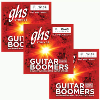 GHS Boomers Guitar Strings 3-Pack Roundwound Electric Light 10-46