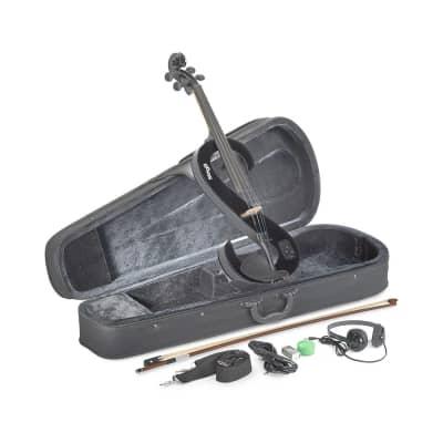 Stagg EVA 4/4 BK S-Shaped 4/4 Electric Viola Set w/Case, Straps, Bow, Rosin, Headphones & 9V Battery