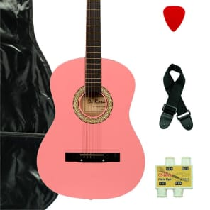 De Rosa DK3810R-PK Kids Acoustic Guitar Outfit w/Gig Bag, Pick, Strings, Pitch Pipe & Guitar Strap for sale