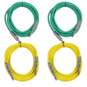 """Seismic Audio SASTSX-10-2GREEN2YELLOW 1/4"""" TS Male to 1/4"""" TS Male Patch Cables - 10' (4-Pack)"""