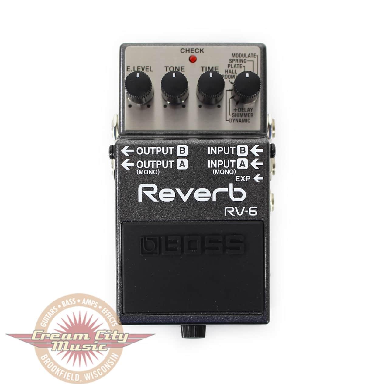 boss rv 6 reverb pedal cream city music reverb. Black Bedroom Furniture Sets. Home Design Ideas