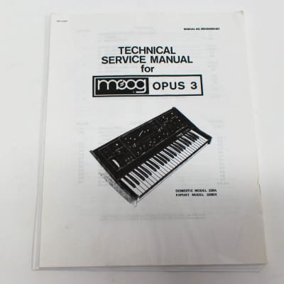 Moog OPUS 3 Synthesizer Keyboard Technical Service Manual