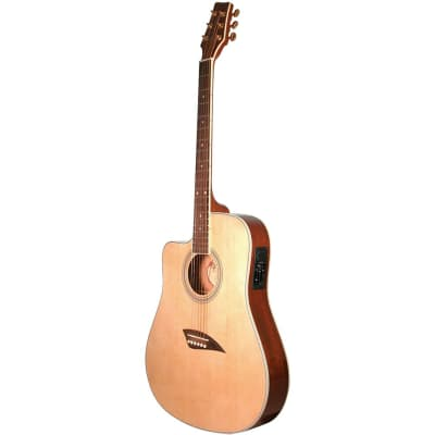Kona K2LN Left Handed Thin Body Acoustic Electric Guitar, Natural for sale