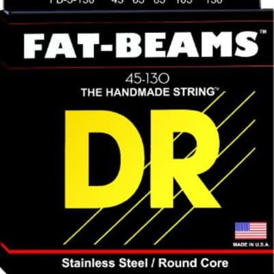 DR FB45-130 Fat Beams Stainless Steel 5 String Bass Strings, 45-130
