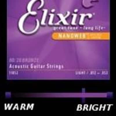 Elixir Acoustic Guitar Strings 80/20 Bronze with NANOWEB Coating