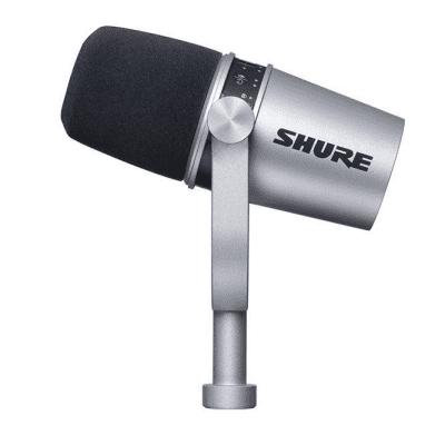 Shure MV7 Dynamic USB Podcast Microphone, Silver