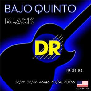 DR BQB-10 Neon Black Coated Bajop Quinto Round Core Loop End Strings (10-Pack)