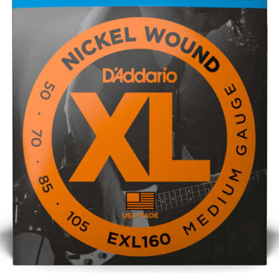 D'Addario EXL160 Nickel Wound Bass Guitar Strings, Medium, 50-105 Long Scale