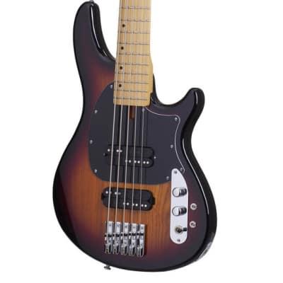 Schecter 2494 5-String Bass Guitar, 3 Tone Sunburst, CV-5