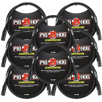 Lifetime Warranty! 8 PACK Pig Hog PHDMX5 5ft DMX Lighting Cable 3 Pin - NEW