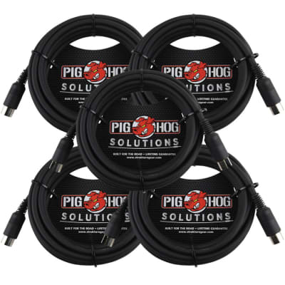 5 Pack Pig Hog Solutions PMID15 - 15ft MIDI Cable Black Instrument Interface - New