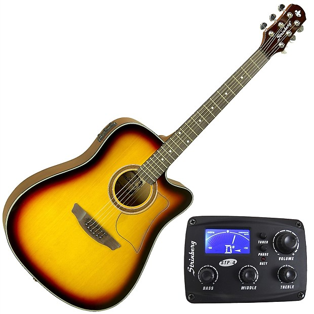 acoustic electric guitar w built in preamp tuner free reverb. Black Bedroom Furniture Sets. Home Design Ideas