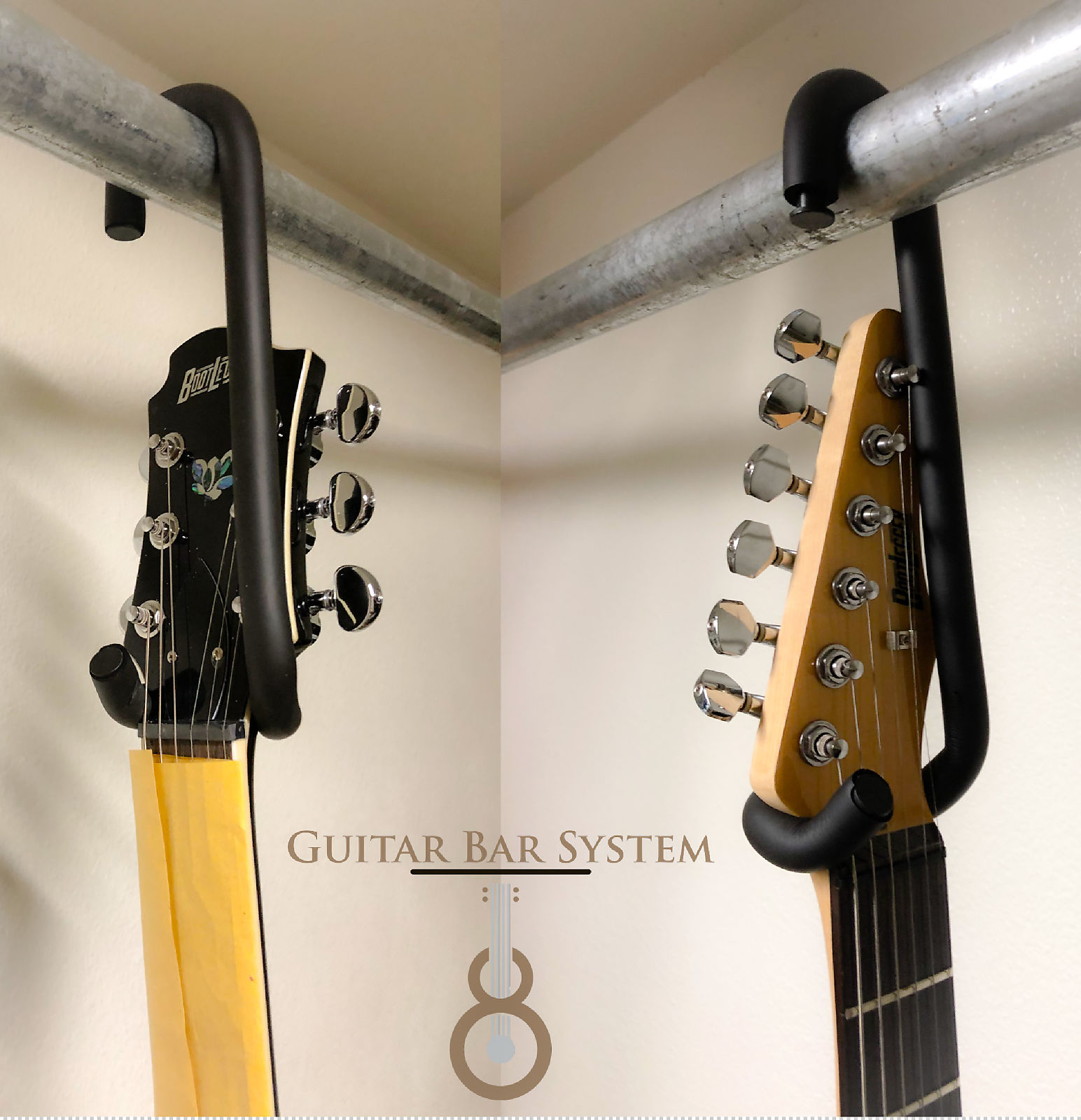 Ordinaire Guitar Bar Hanger Display Electric Acoustic 4 String Base Banjo Mandolin... Closet, Rack Or Custom.