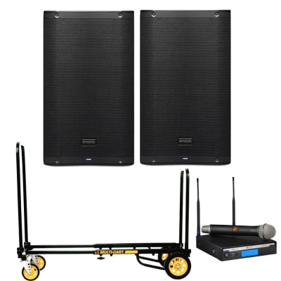 PreSonus AIR12 2-Way Active Sound-Reinforcement Loudspeakers Pair with Rock N Roller R2RT Micro Multi-Cart and Electro-Voice R300-HD Handheld Wireless Microphone System