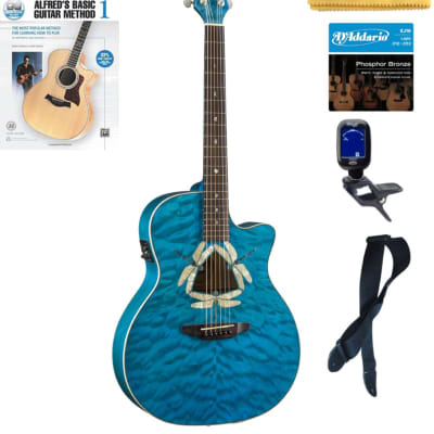 Luna FAU DF QM Fauna Dragonfly Quilted Maple Cutaway A/E Guitar, Book Bundle for sale