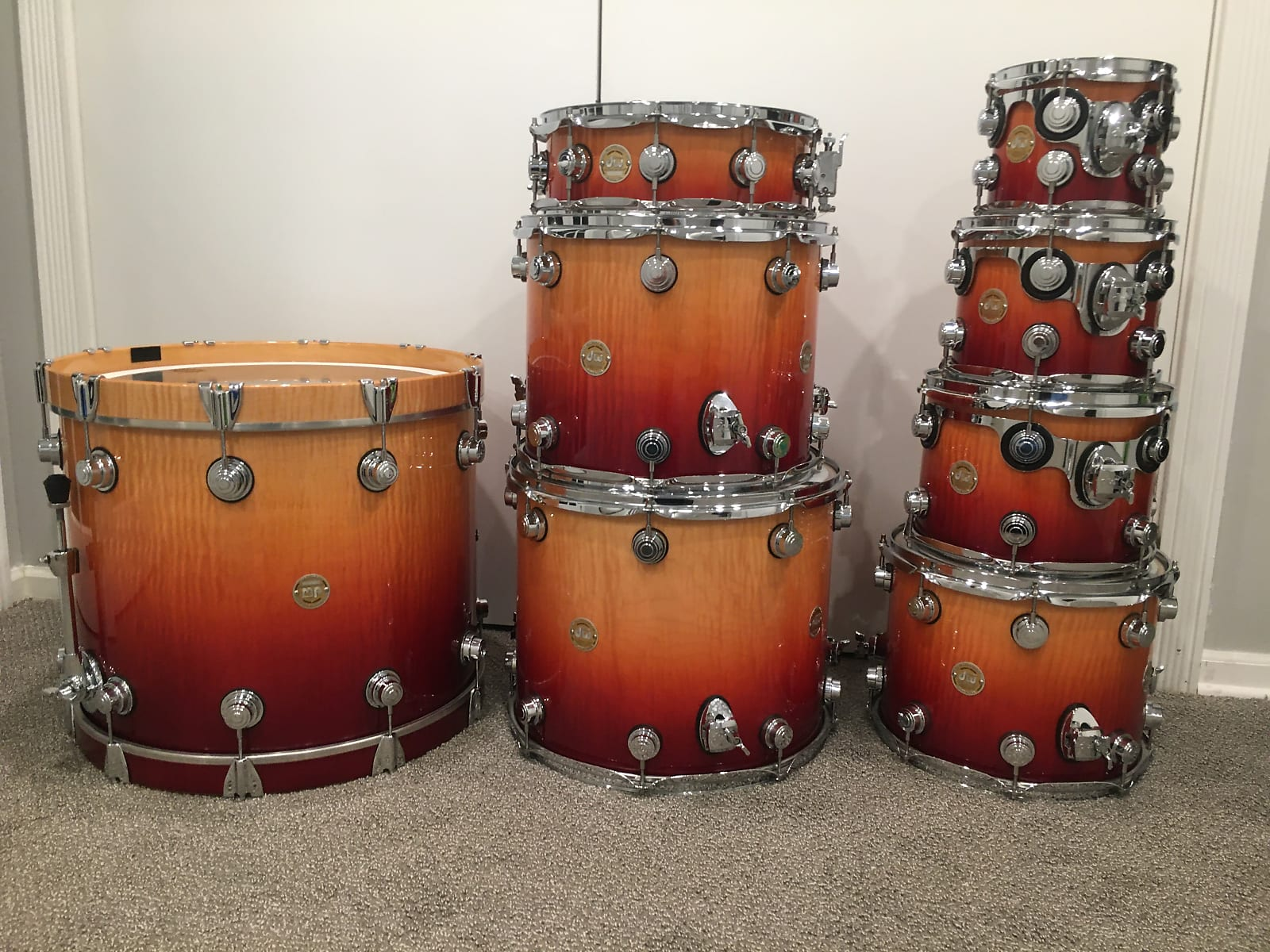 DW Collector's Exotic Series Drum Set 2005 Red to Natural Burst