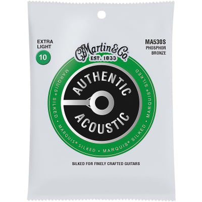 Martin MA530S Authentic Acoustic Marquis Silked Phosphor Bronze Acoustic Guitar Strings, Extra Light
