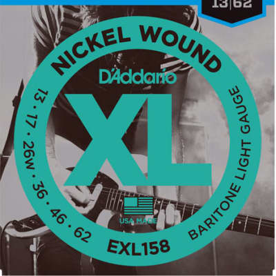 D'Addario EXL158 Nickel Wound, Baritone Electric Guitar String Light Gauge, 13-62