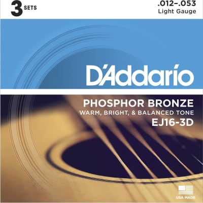 D'Addario EJ163D Phosphor Bronze Acoustic Guitar Strings, Light, 12-53