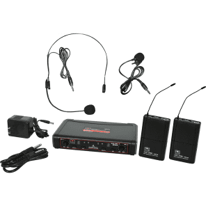 Galaxy Audio EDXR/38SVN Dual Channel Wireless System with Two Headset Lavalier Microphones - System N