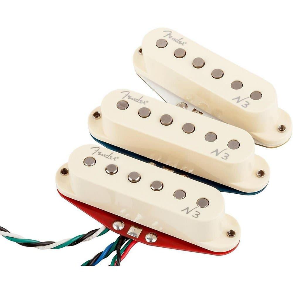 fender n3 noiseless strat guitar pickup set of 3 in white. Black Bedroom Furniture Sets. Home Design Ideas