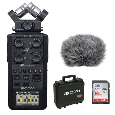 Zoom H6 All Black 6-Track / 6-Input Portable Recorder with Single Mic Capsule, SKB Waterproof Case, 16GB Memory Card & Windbuster Bundle