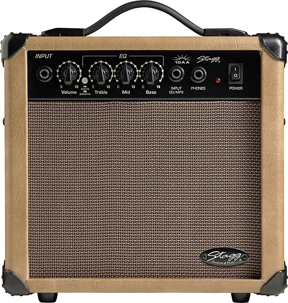 stagg 10 aa 10 watt acoustic electric amplifier brown reverb. Black Bedroom Furniture Sets. Home Design Ideas