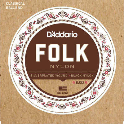 D'Addario EJ32 Folk Nylon Guitar Strings Ball End Silver Wound/Black Nylon Trebles