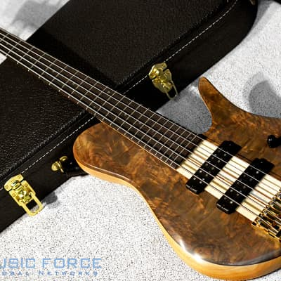 Fodera Custom Imperial Elite 5-Crotch Walnut Top w/5-Piece Maple Neck & Indian Rosewood FB