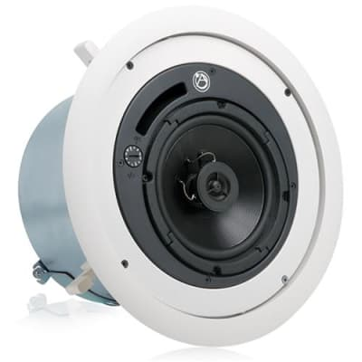 Atlas Sound FAP62T 6  Coaxial In-Ceiling Speaker with 70.7/100V-32W Transformer & Ported Enclosure, 8 Bypass (Pair, White)