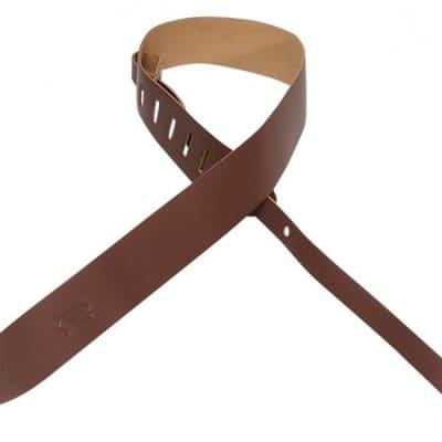 Levys M12BRN 2 Inch Leather Guitar Strap Brown