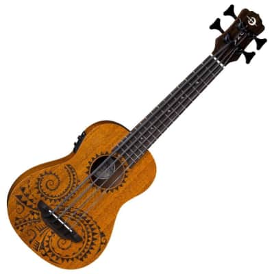 Luna UKE BBASS TAT MAH Acoustic Electric 4-String Tattoo Mahogany Ukulele w/Bag