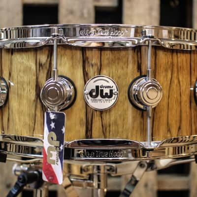 DW Collector's Maple Natural Lacquer Over Black Limbo 6x14 Snare  - SO# 1101173