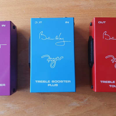 Greg Fryer Brian May Treble Booster very rare set of 3 - Touring, Plus & Deluxe  Red, Blue & Purple for sale