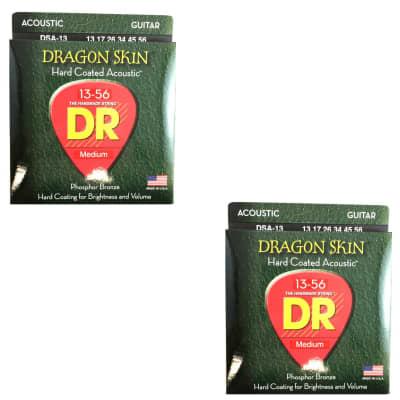 DR Guitar Strings Acoustic Dragon Skin 2-Pack 13-56