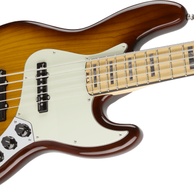 NEW! Fender American Elite Jazz Bass V Maple Board Tobacco Sunburst Ash 5-String Authorized Dealer for sale