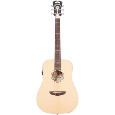 D'Angelico Guitars Premier Niagara Mini Dreadnought Body Acoustic-Electric Guitar with Onboard Preamp and Tuner, 20 Frets, C-Shape Neck, Ovangkol Fing