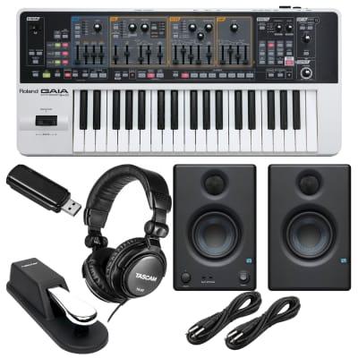 Roland GAIA SH-01 Virtual Analog Synthesizer, Presonus Eris3.5, (2) 1/4 Cables, Tascam TH02, Sustain Pedal, 64GB USB Memory Bundle