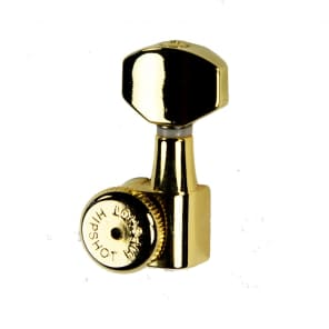 Hipshot Grip-Lock Enclosed 6 in line Left Hand/Reverse non-staggered post Gold locking tuner