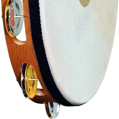 Meinl Percussion TAH1M-SNT Traditional 10-Inch Wood Tambourine with Goat Skin Head and Dual Alloy Jingles, 1 Row