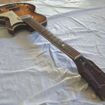 1950s/60s Kay Galaxie Sunburst Hollowbody Electric Guitar, Great Setup for sale